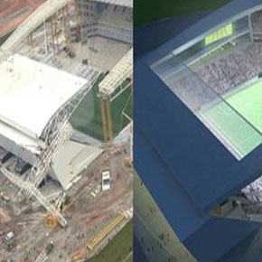 Se derrumba estadio de Brasil2014