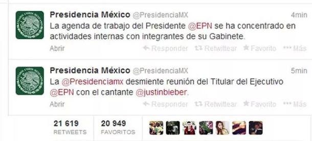 Presidencia desmiente Justin Bieber