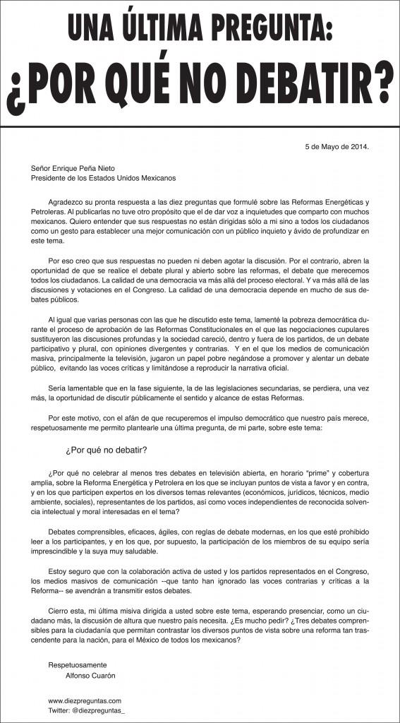 Carta de Cuarón a EPN