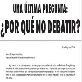 Última pregunta de Cuarón a Peña Nieto= ¿Porqué nodebatir?