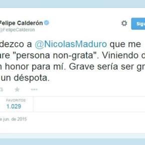 Venezuela declara persona 'non grata' a FelipeCalderón