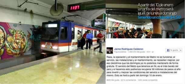 Bronco cancela metro gratuito en domingo